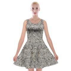 Silver Tropical Print Velvet Skater Dress