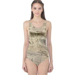 Vintage newspaper  One Piece Swimsuit
