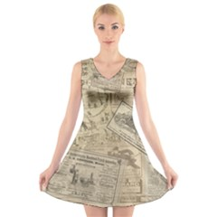 Vintage newspaper  V-Neck Sleeveless Skater Dress