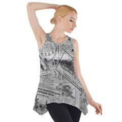Vintage newspaper  Side Drop Tank Tunic