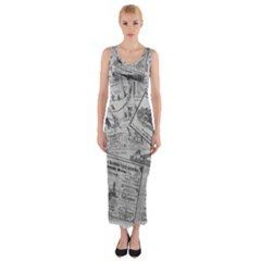 Vintage newspaper  Fitted Maxi Dress