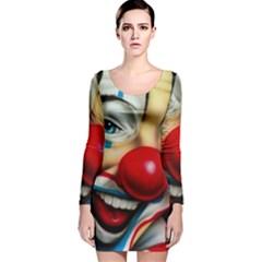 Clown Long Sleeve Velvet Bodycon Dress