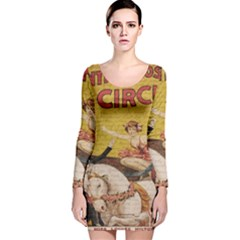 Vintage circus  Long Sleeve Velvet Bodycon Dress