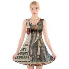 Vintage circus  V-Neck Sleeveless Skater Dress