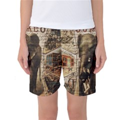 Vintage circus  Women s Basketball Shorts