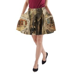 Vintage circus  A-Line Pocket Skirt