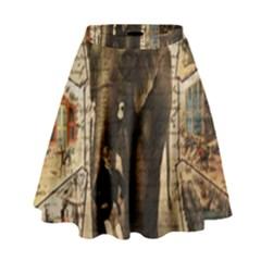 Vintage circus  High Waist Skirt