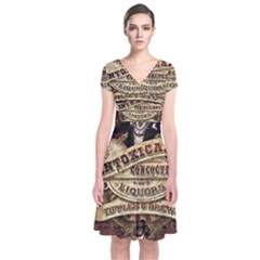 Vintage circus  Short Sleeve Front Wrap Dress