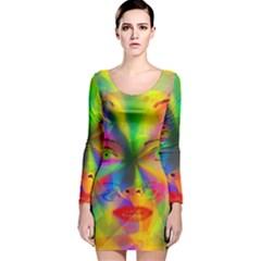 Rainbow girl Long Sleeve Velvet Bodycon Dress