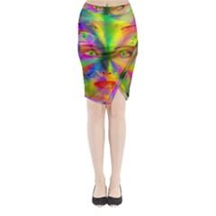 Rainbow girl Midi Wrap Pencil Skirt