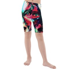 Abstract girl Kids  Mid Length Swim Shorts