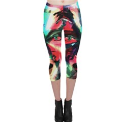 Abstract girl Capri Leggings