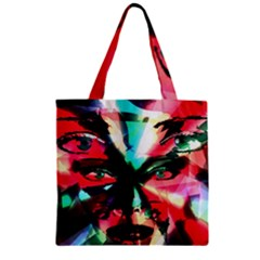 Abstract girl Zipper Grocery Tote Bag
