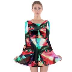 Abstract girl Long Sleeve Skater Dress