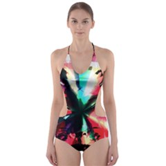 Abstract girl Cut-Out One Piece Swimsuit