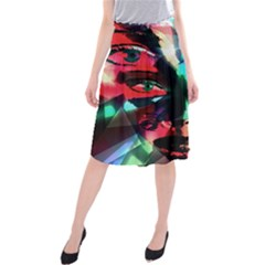 Abstract girl Midi Beach Skirt