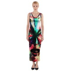 Abstract girl Fitted Maxi Dress