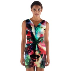 Abstract girl Wrap Front Bodycon Dress