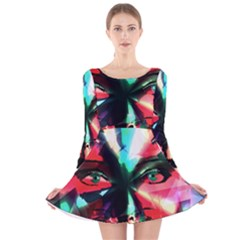 Abstract girl Long Sleeve Velvet Skater Dress