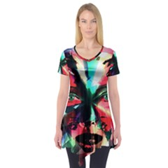 Abstract girl Short Sleeve Tunic