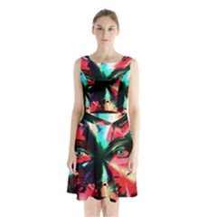 Abstract girl Sleeveless Chiffon Waist Tie Dress