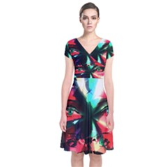 Abstract girl Short Sleeve Front Wrap Dress
