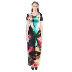 Abstract girl Short Sleeve Maxi Dress