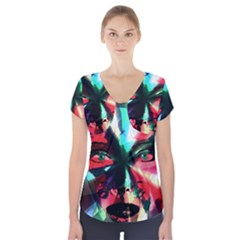 Abstract girl Short Sleeve Front Detail Top