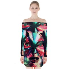 Abstract girl Long Sleeve Off Shoulder Dress