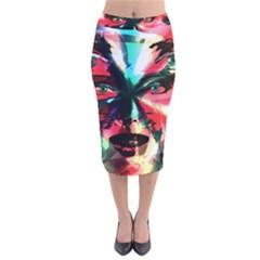 Abstract girl Velvet Midi Pencil Skirt