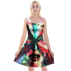 Abstract girl Reversible Velvet Sleeveless Dress