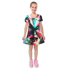 Abstract girl Kids  Short Sleeve Velvet Dress