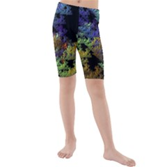 Fractal Forest Kids  Mid Length Swim Shorts