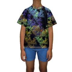Fractal Forest Kids  Short Sleeve Swimwear