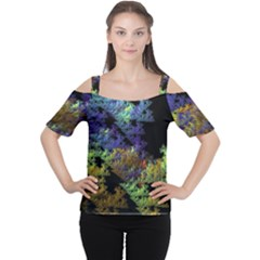 Fractal Forest Women s Cutout Shoulder Tee