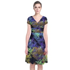 Fractal Forest Short Sleeve Front Wrap Dress
