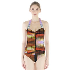 Fractal Tiles Halter Swimsuit