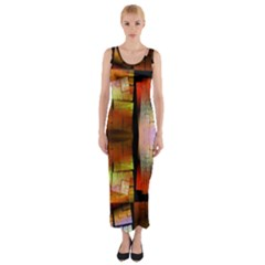 Fractal Tiles Fitted Maxi Dress