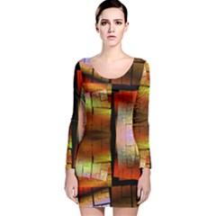 Fractal Tiles Long Sleeve Velvet Bodycon Dress