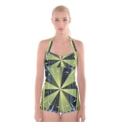 Fractal Ball Boyleg Halter Swimsuit