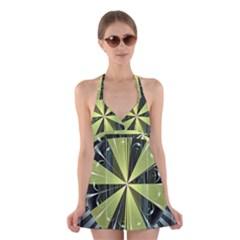 Fractal Ball Halter Swimsuit Dress