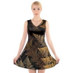 Fractal Fern V Neck Sleeveless Skater Dress