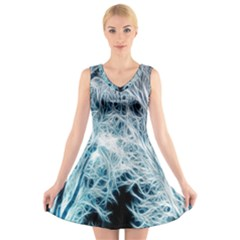 Fractal Forest V Neck Sleeveless Skater Dress