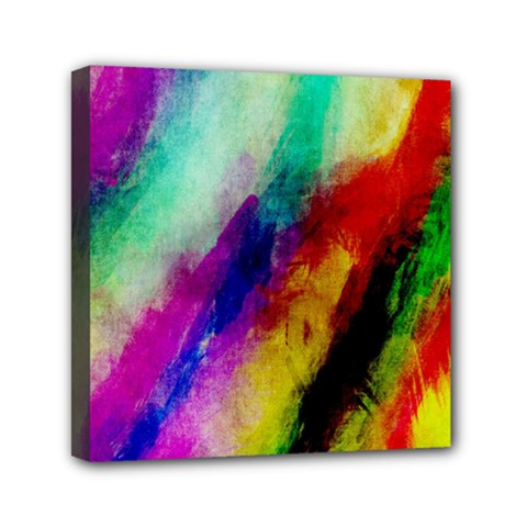 Abstract Colorful Paint Splats Mini Canvas 6  x 6
