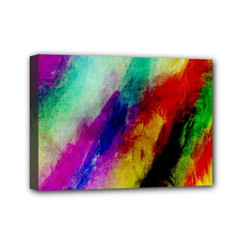 Abstract Colorful Paint Splats Mini Canvas 7  x 5