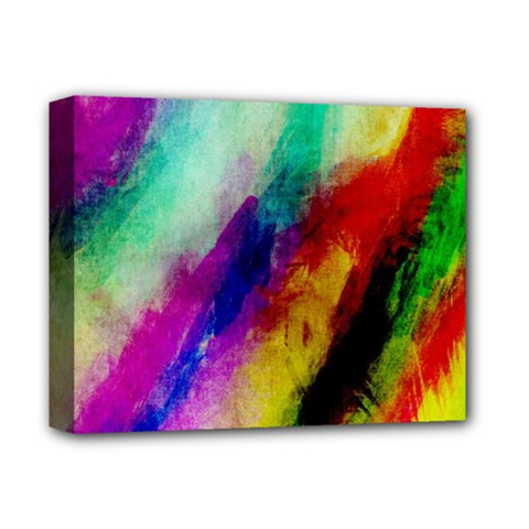 Abstract Colorful Paint Splats Deluxe Canvas 14  X 11