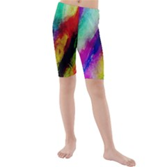Abstract Colorful Paint Splats Kids  Mid Length Swim Shorts