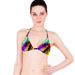 Abstract Colorful Paint Splats Bikini Top