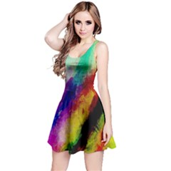 Abstract Colorful Paint Splats Reversible Sleeveless Dress