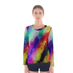 Abstract Colorful Paint Splats Women s Long Sleeve Tee